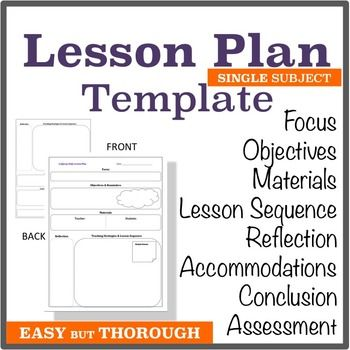 lesson plan template single subject graphic organizer elementary middle school high