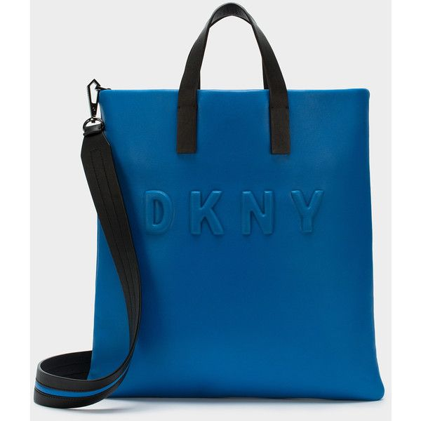 DKNY Neoprene Bonded Lamb Nappa Leather Tote (£285) ❤ liked on Polyvore featuring bags, handbags, tote bags, dkny, blue tote bag, neoprene tote bag, tote bag purse and tote purses