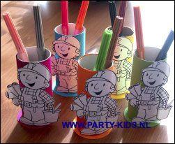 KDV-PSZ-kleuterschool traktatie: Bob de bouwer traktatie beker, met kleurplaat , stiften/potloden, en wat lekkers