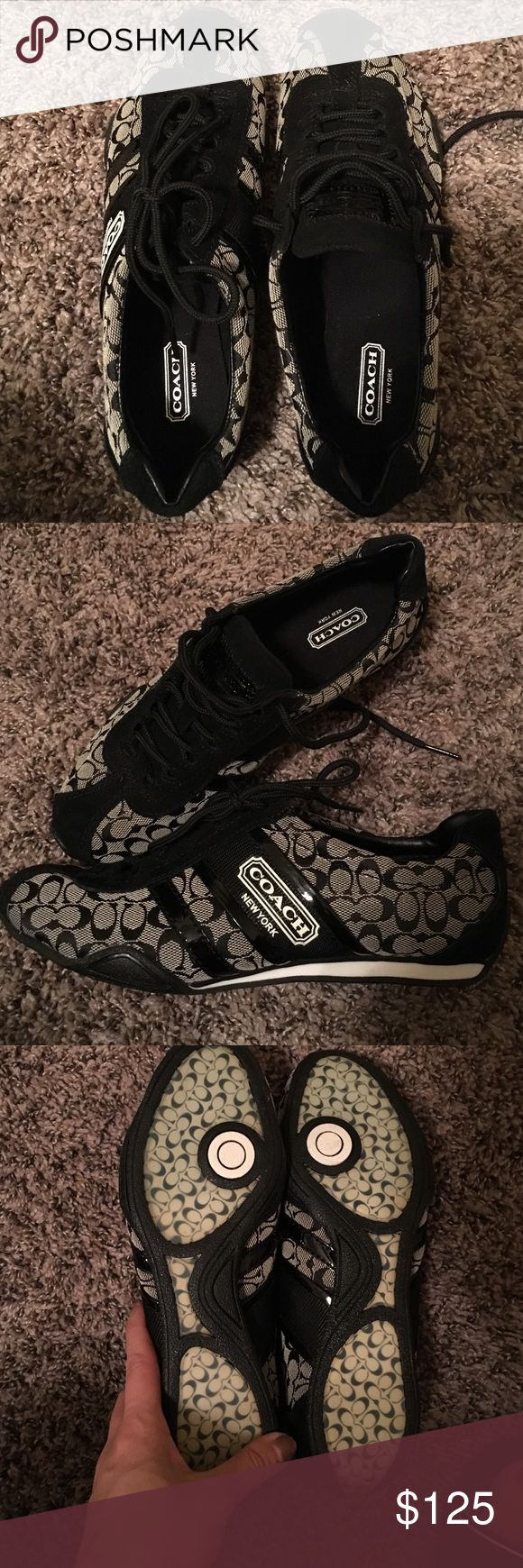 Coach tennis shoes Brand new and never been worn. Cute and stylish that can be dressed up or down while still being looked out together Coach Shoes Athletic Shoes