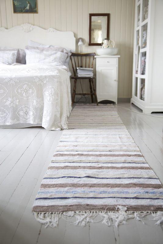 rag rug runner on painted wood bedroom floors | bedroom in 2018