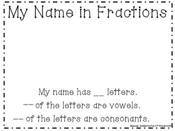 This is a great activity to help introduce fractions to your students. Let them pick a name and they have to write the fraction for how many vowels and constants the name has.This freebie includes a whole group instruction page, a page to design their own name and determine the fractions plus an example of how I use this in my classroom.
