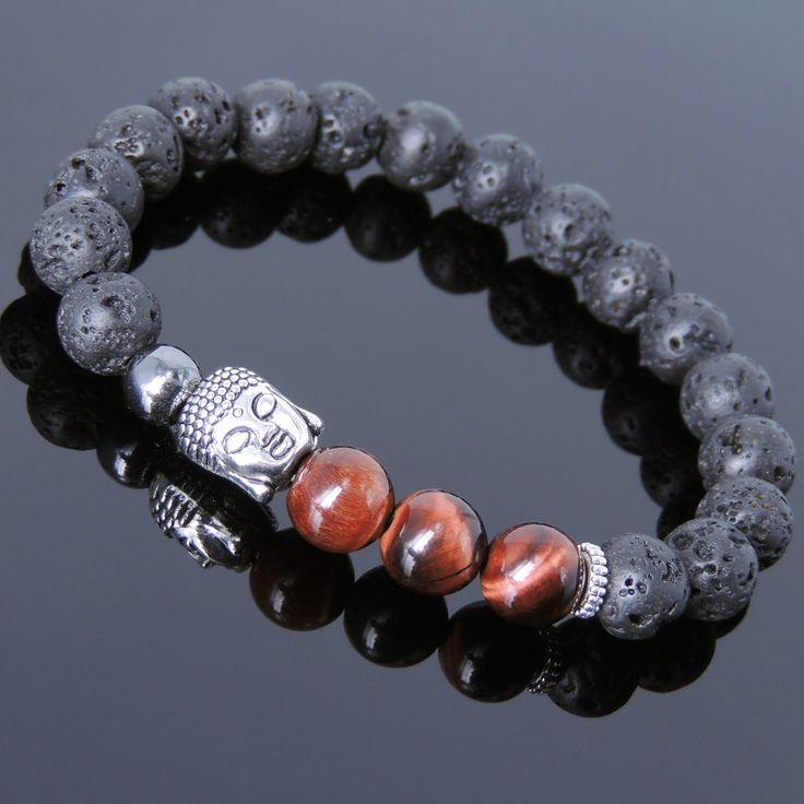 Red Tiger Eye Lava Rock & Hematite Healing Gemstone Bracelet with Tibetan Silver Sakyamuni Buddha & Spacers - Handmade by Gem & Silver TSB201