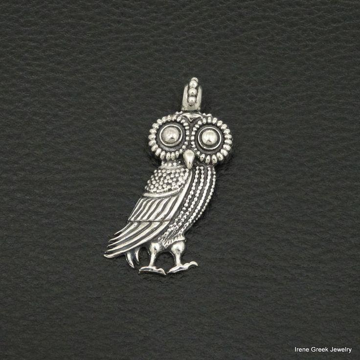 ATHENA OWL PENDANT 925 STERLING SILVER GREEK HANDMADE ART BIG LUXURY #IreneGreekJewelry #Pendant
