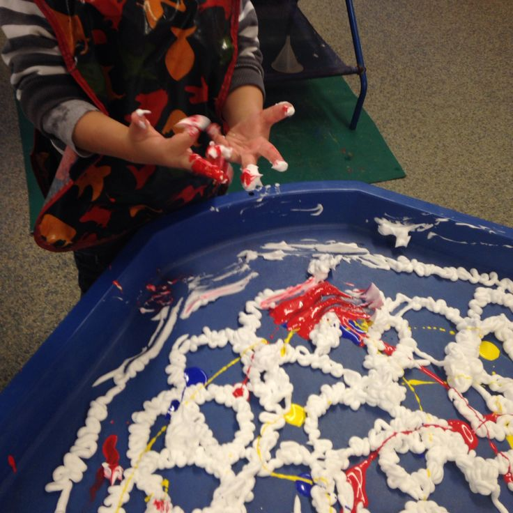 Colour mixing shaving foam and paint