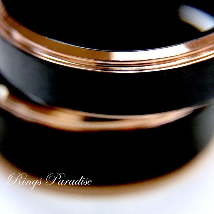 Anillo de bodas anillo de titanio negro, los bordes de oro rosa de Mens, anillos de titanio, mm 8 bandas, anillo de bodas, hombres anillo, bandas de titanio, anillos para hombre, anillo de RingsParadise en Etsy https://www.etsy.com/es/listing/274953362/anillo-de-bodas-anillo-de-titanio-negro
