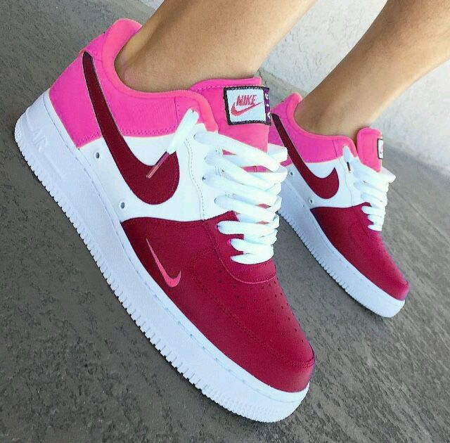 timeless design 6abbe 4b166 AF1 Pink White and Maroon Low Cut   Suited   Shoes, Nike ...