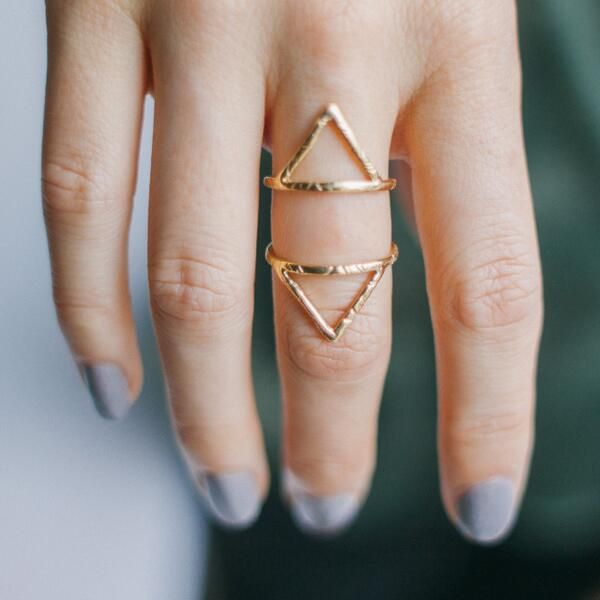 Triangle Rings + Grey Nails