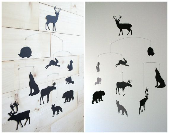 Woodland Mobile Forest Animals Deer Moose Bear by LoveLouHome
