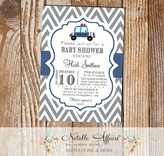 Gray and Light Navy Police Car Baby Shower by NotableAffairs