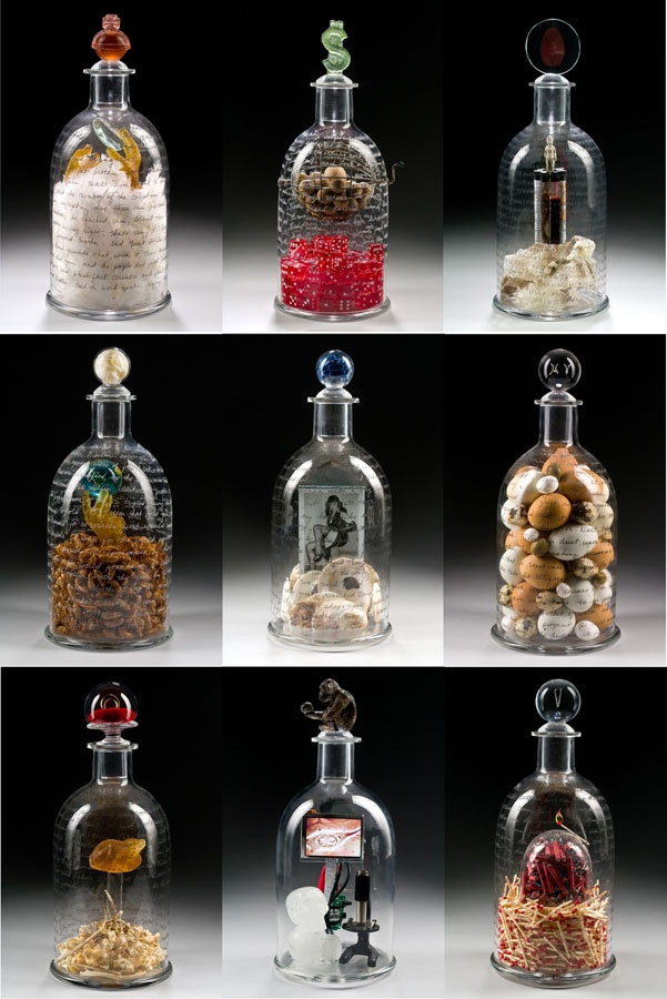 Glass, Tim Tate and Marc Petrovic, Artists, Apothecarium Moderne, 2010; 9 cures for 9 contemporary, societal ailments such as loss of faith, overpopulation and financial insecurity; blown and cast glass, electronics, found objects, video
