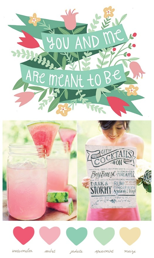 Mason Jar Cocktails - Pink Green possible color theme