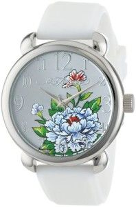 Ed Hardy Women's FO-WH Fountain White Quartz Analog Watch Don Ed Hardy flower tattoo image on dial. Water resistant to 99 feet (30 M): withstands rain and splashes of water, but not showering or submersion. Polished stainless steel case.  http://awsomegadgetsandtoysforgirlsandboys.com/easter-basket-girlfriend/ Ed Hardy Women's FO-WH Fountain White Quartz Analog Watch