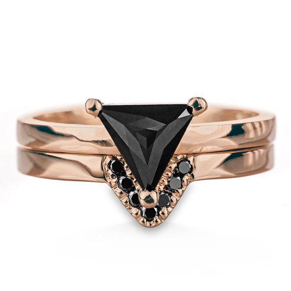 Triangle Black Diamond Ring 14k Rose Gold by PointNoPointStudio