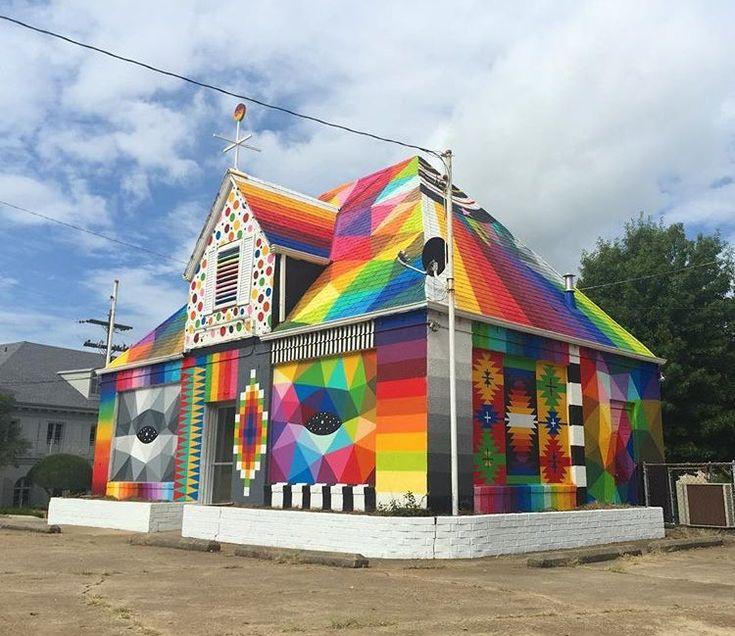 New Street Art by @OKUDART in Fort Smith, Arkansas USA  [Embedded image]