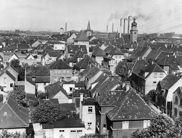 Blick über Ludwigshafen Oppau vor der Zerstörung im 2. Weltkrieg.