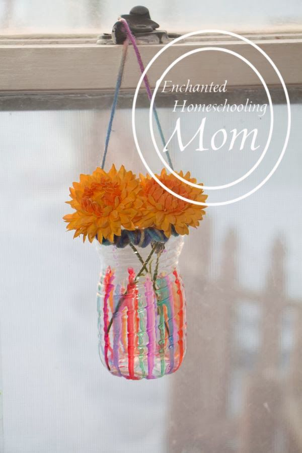 Sun Catcher Vases - Enchanted Homeschooling Mom: Art Crafts, Crafts Ideas, Mom Sun, Sun Catcher, Homeschool Mom, Enchanted Homeschool, Foodhomefamili Diy, Crafts Sewing, Catcher Vase
