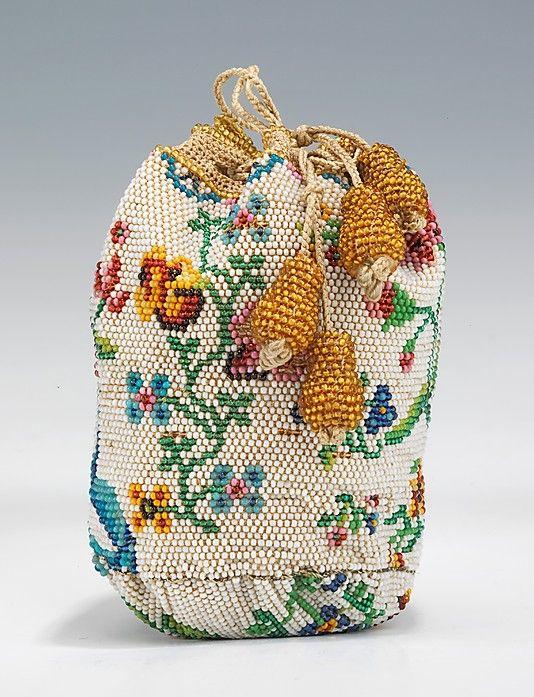 Beaded Drawstring Purse, circa 1780-1810