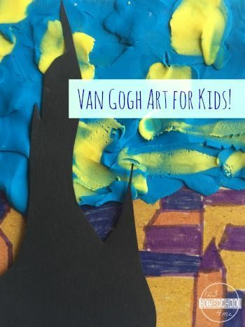 Van Gough Stary Art Project for kids learning about famous artists - very unique, great project using a variety of methods (preschool, kindergarten, 1st grade, 2nd grade, homeschool, 3rd grade)