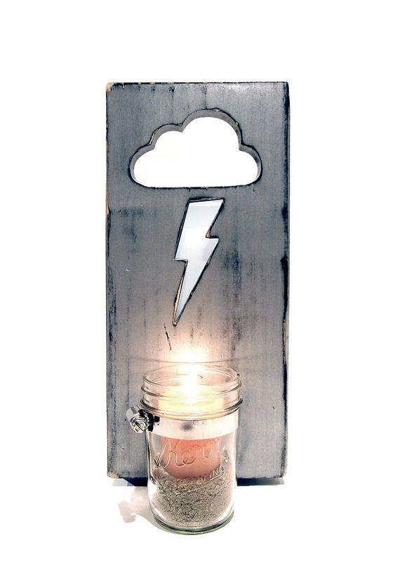 Wandhalter Vase Einmachglas Vase Lightning Bolt von ThePineNuts