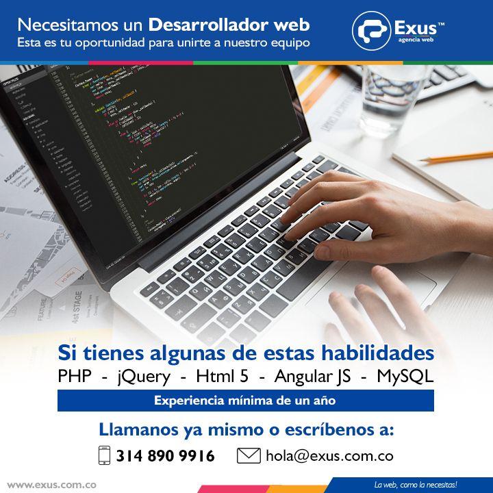 Estamos #buscando un #desarrollador #web así que esta es la oportunidad que estabas esperando para unirte a nuestro equipo! Háblanos! https://exus.cf/2jZl4tN