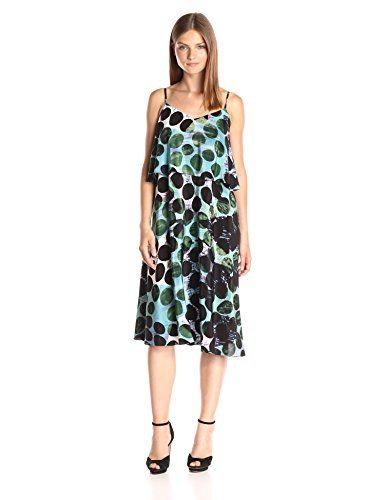 5a22b5f5c03 Tracy Reese Womens Flare Flounce Tank Dress Palm Dot Small   For more  information