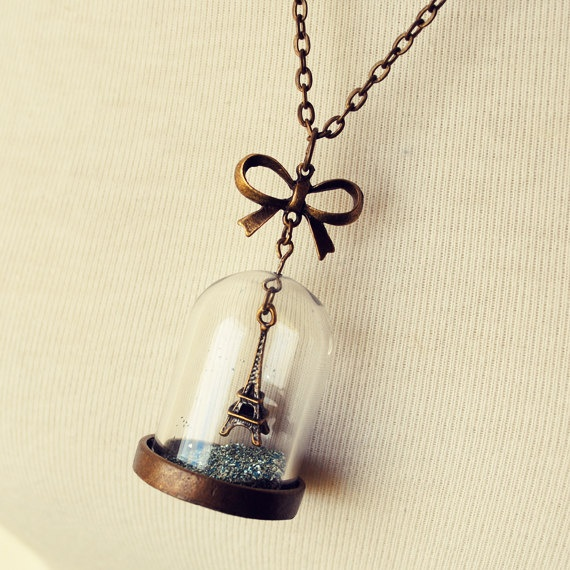 Eiffel Tower Snow Globe Necklace with Blue German Glass Glitter by Dear Delilah