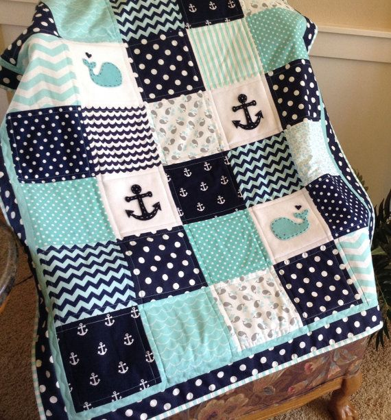 Nautical Anchor & Baby Whale quilt in aqua, navy and white available In 2 sizes