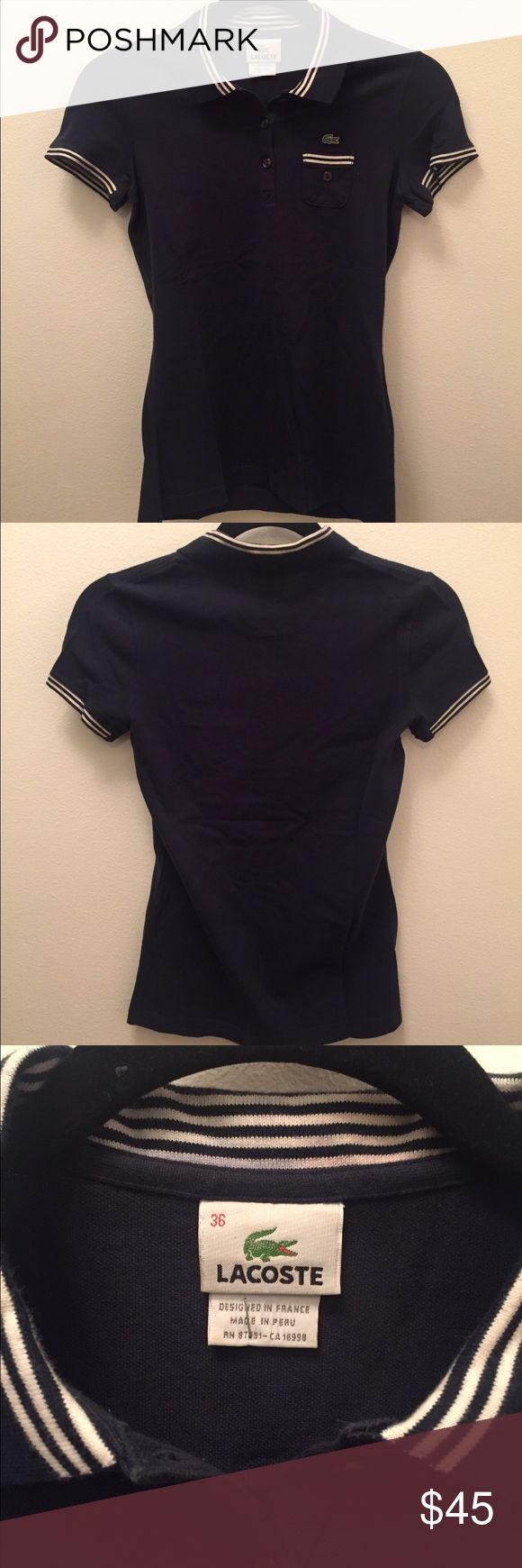 Lacoste polo shirt Navy Lacoste Polo shirt women's size 36. New without tags. Never worn. Message me if interested :) the size is 36 which is a US Small. Lacoste Tops