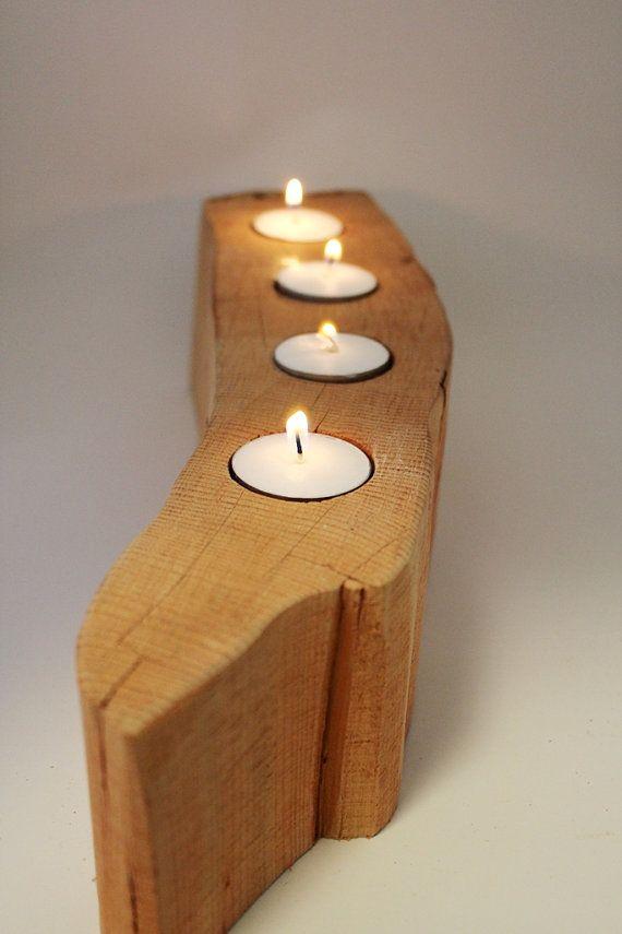 Rustique bois bougie support bois  bois de par BessiesCreations, $40.00