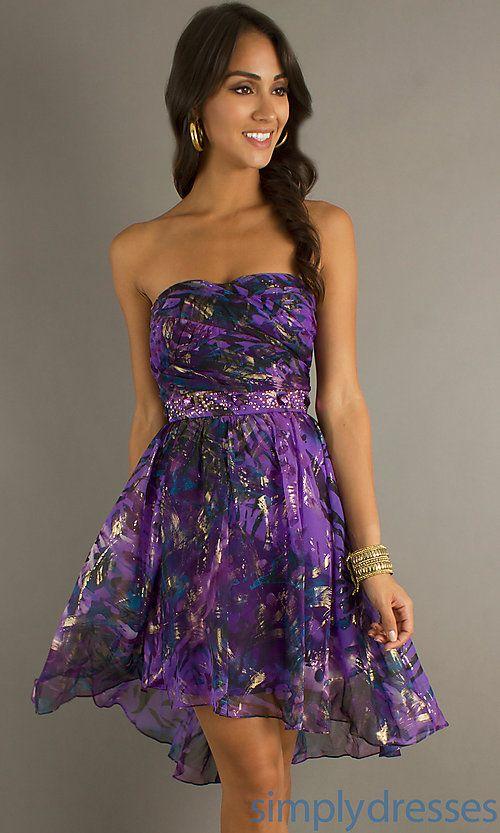 Short Strapless Purple Multi High Low Dress