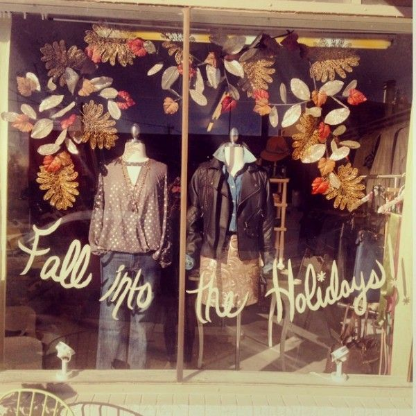 Fall into the holidays window display at Twirl