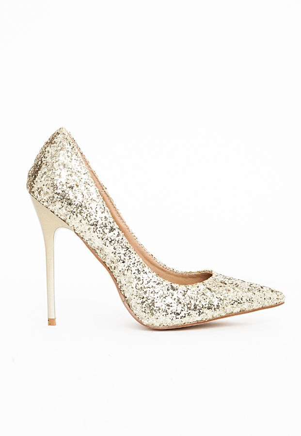 Gold  Pointed Toe Court Shoes Gold Glitter
