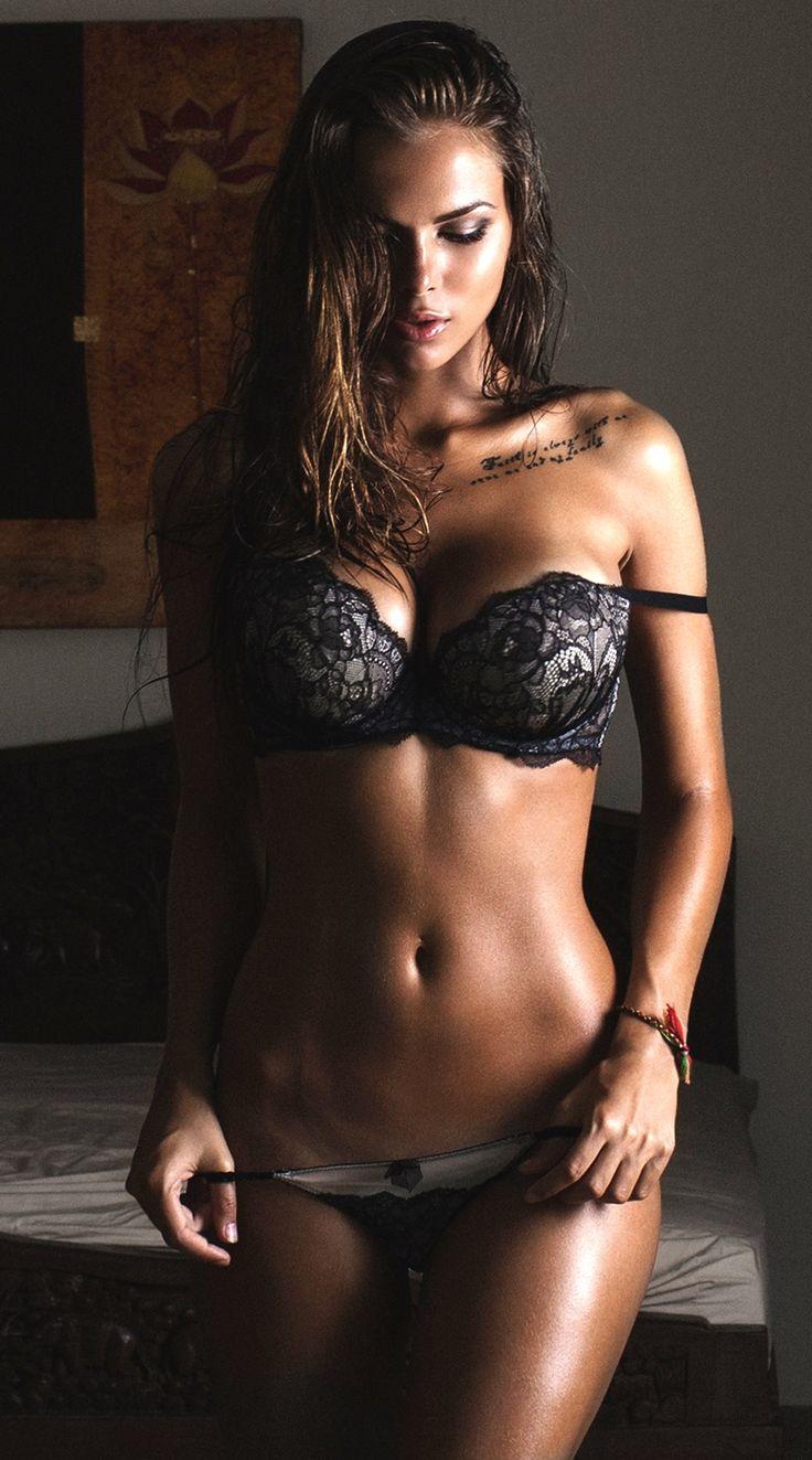 Hot Babes Lovely Girls Sexy Viki Odintcova In Black Lace -9125