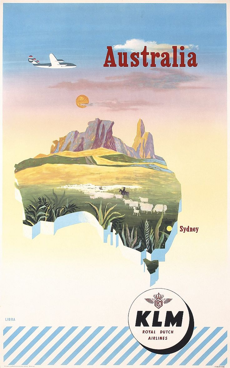 Original 1950s KLM Australia Airline Travel Poster - by PosterConnection Inc.