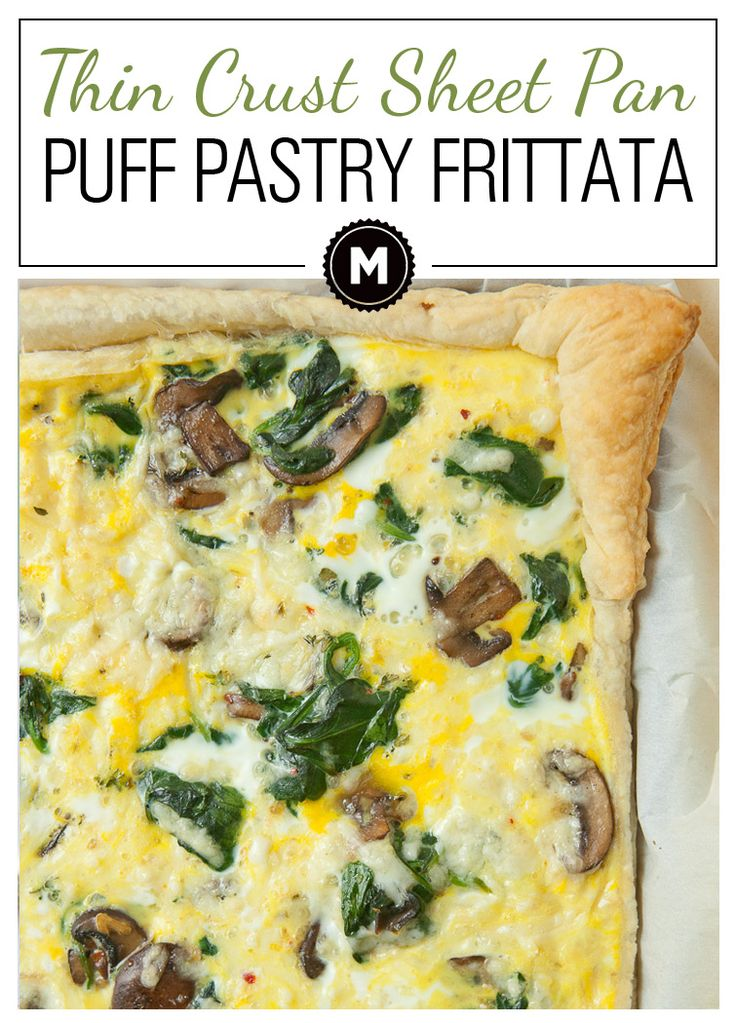 Puff Pastry Frittata: An easy breakfast dish packed with mushrooms and spinach and baked in a sheet pan. The finished dish is nice and thin and has a great crust!