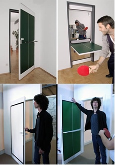 Great idea!  Ping-pong table = Door to a game room!