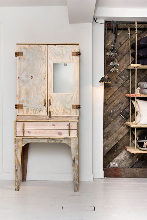 High Shore is a wonderfully crafted piece is based on traditional bureau design. Keeping localism in mind, reclaimed materials were used in the production of all components. The design of custom hinges and locks were kept in-house, to further explore the ideas behind sustainable furniture production. The hinge, an often overlooked design component, becomes a distinct feature of the High Shore cabinet.