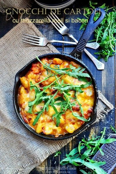 Gnocchi de cartofi cu mozzarella Granarolo, rosii si bacon