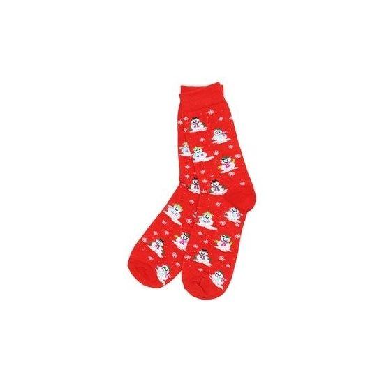 Rode kerstsokken met sneeuwpoppen. Paar rode heren kerstsokken met sneeuwpop print. One size sokken, geschikt voor maat 39 - 45.