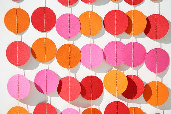 Girl's birthday garland - Birthday party decorations - Hot pink, orange & red - Summer birthday - Paper garland - Nursery decorations