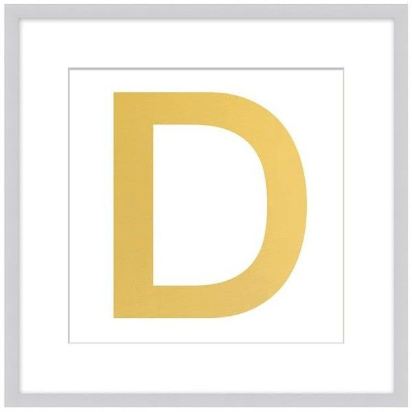 pottery barn gold leaf letter framed print 129 liked on polyvore featuring home