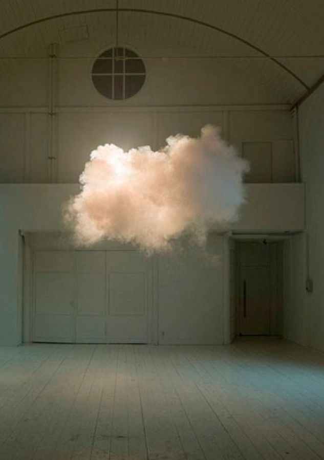 artist creates interior clouds