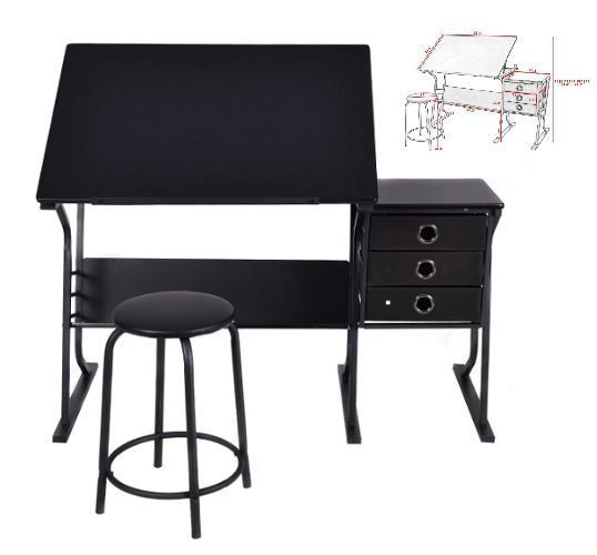 Adjustable Drawing Desk Drafting Table Art Craft W/ Drawers Black Studio Design #AdjustableDrawingDesk