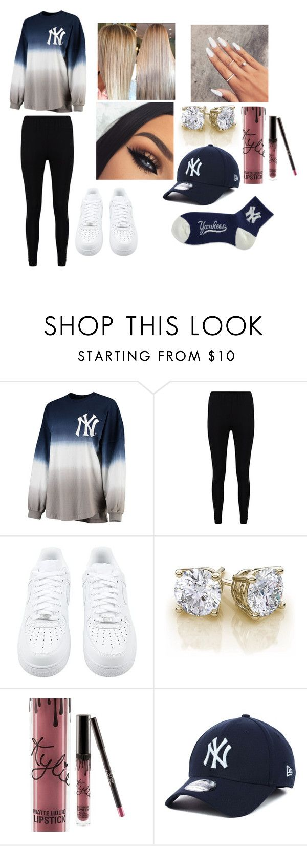 """New York Yankees Outfit"" by hey-its-valerie ❤ liked on Polyvore featuring Boohoo, NIKE, Kylie Cosmetics, New Era and For Bare Feet"