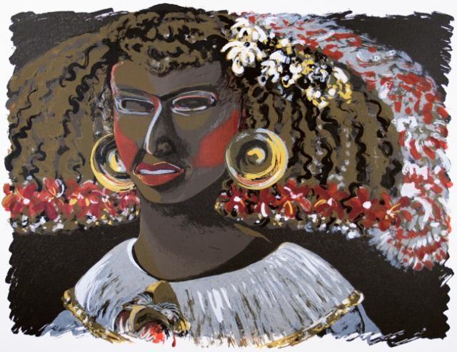 Lillian Garcia-Roig,  La Infanta Teotihuacana, 1995,  Screenprint, #LatinoArt #MexicanAmericanArt #serigraphy #printmaking