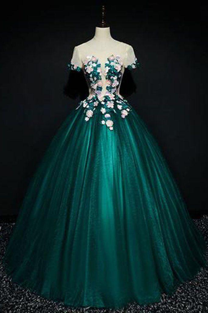 70cf87febb Dark green satin short sleeves A-line evening dress with flower ...