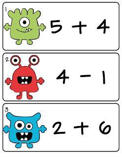 Monster rekenen (leg het antwoord bij de som, als je klaar bent schrijf je de antwoorden op het bijbehorende werkblad)