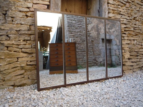 Miroir confectionn partir d 39 une ancienne structure d Miroir usine deco