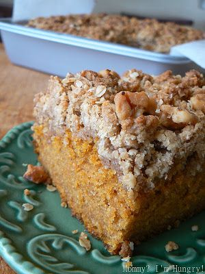 Recipe for pumpkin crumb cake from Entenmann's Big Book Of Baking. Pumpkin pie spice, vanilla extract, walnuts, rolled oats, brown sugar, cinnamon